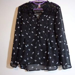 Sheer Black Skull Print blouse with lace detail
